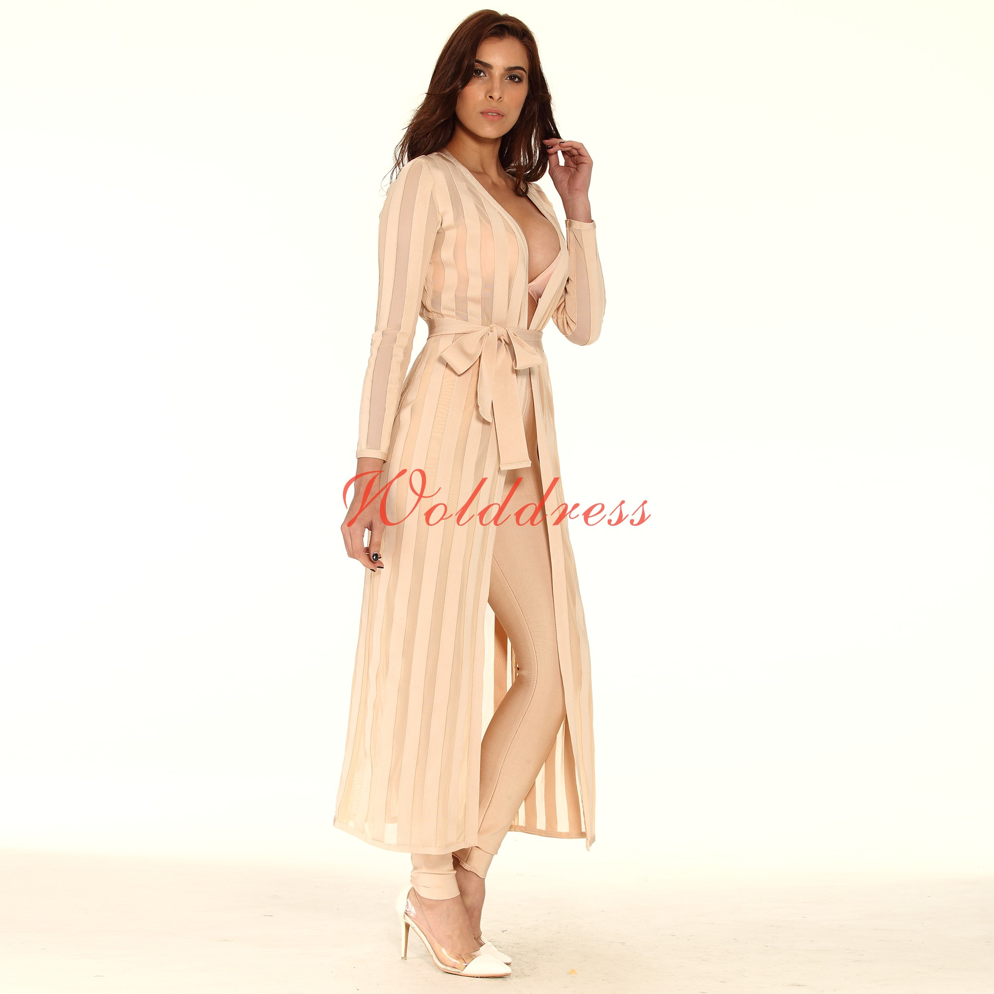 Nude Longsleeve Maxi Stripe High Quality Bandage Ponchos And Pants HT0070-Nude