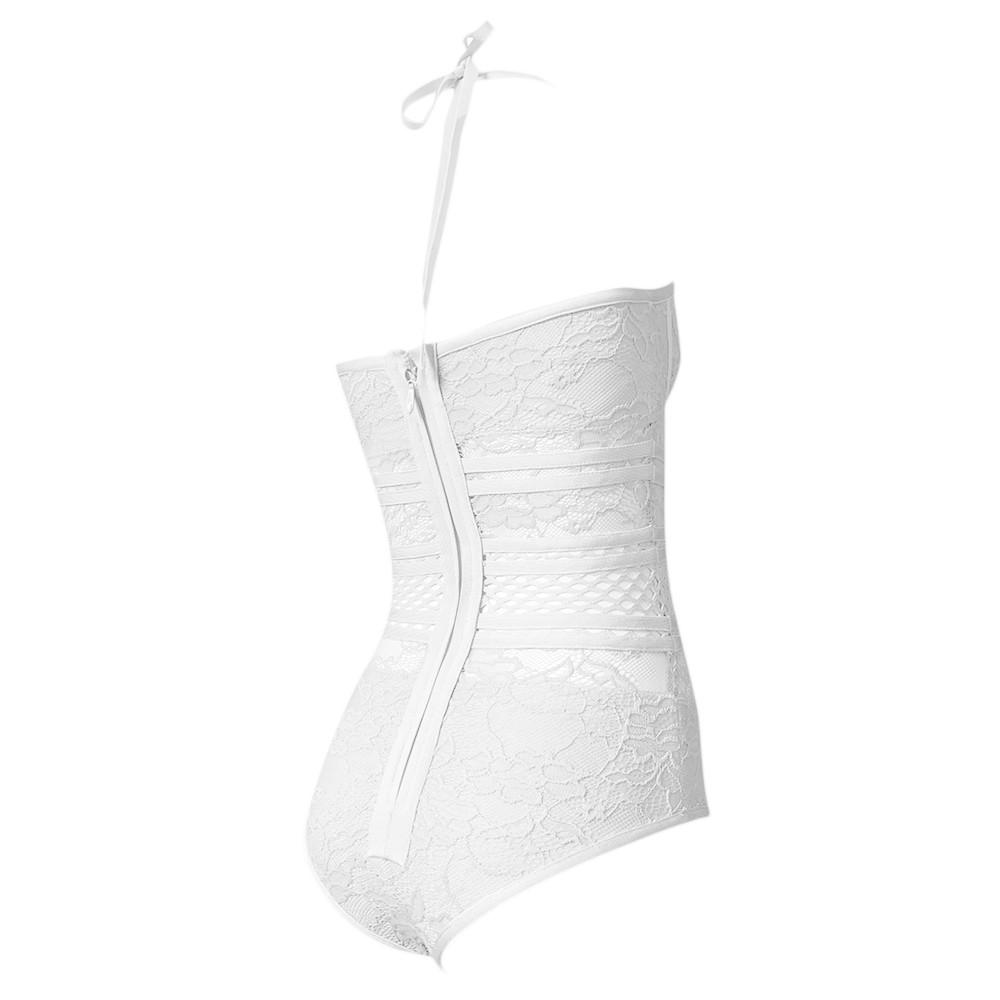 White Halter Sleeveless Lace See Through Sexy Bandage Bodysuit HT0084-White
