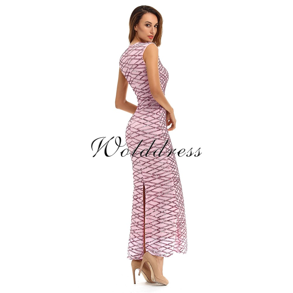 Pink Round Neck Sleeveless Maxi Sequins Floor Length Elegant Bodycon Dress HT0085-Pink