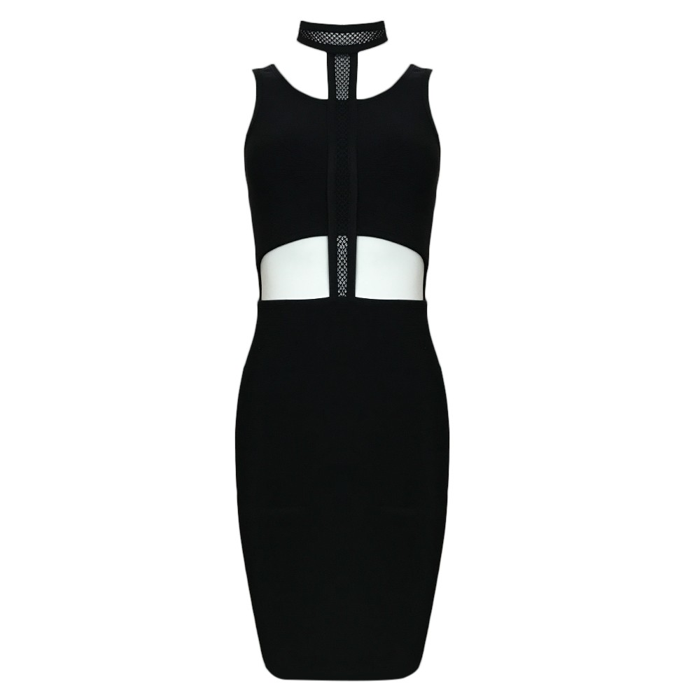 Black Halter Sleeveless Mini Cut Out Bandage Dress HT0087-Black