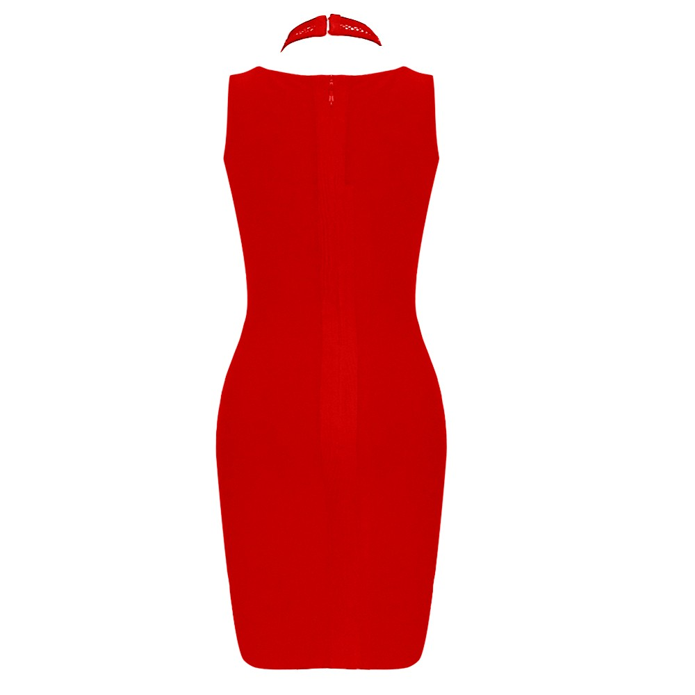 Red Halter Sleeveless Mini Cut Out Bandage Dress HT0087-Red
