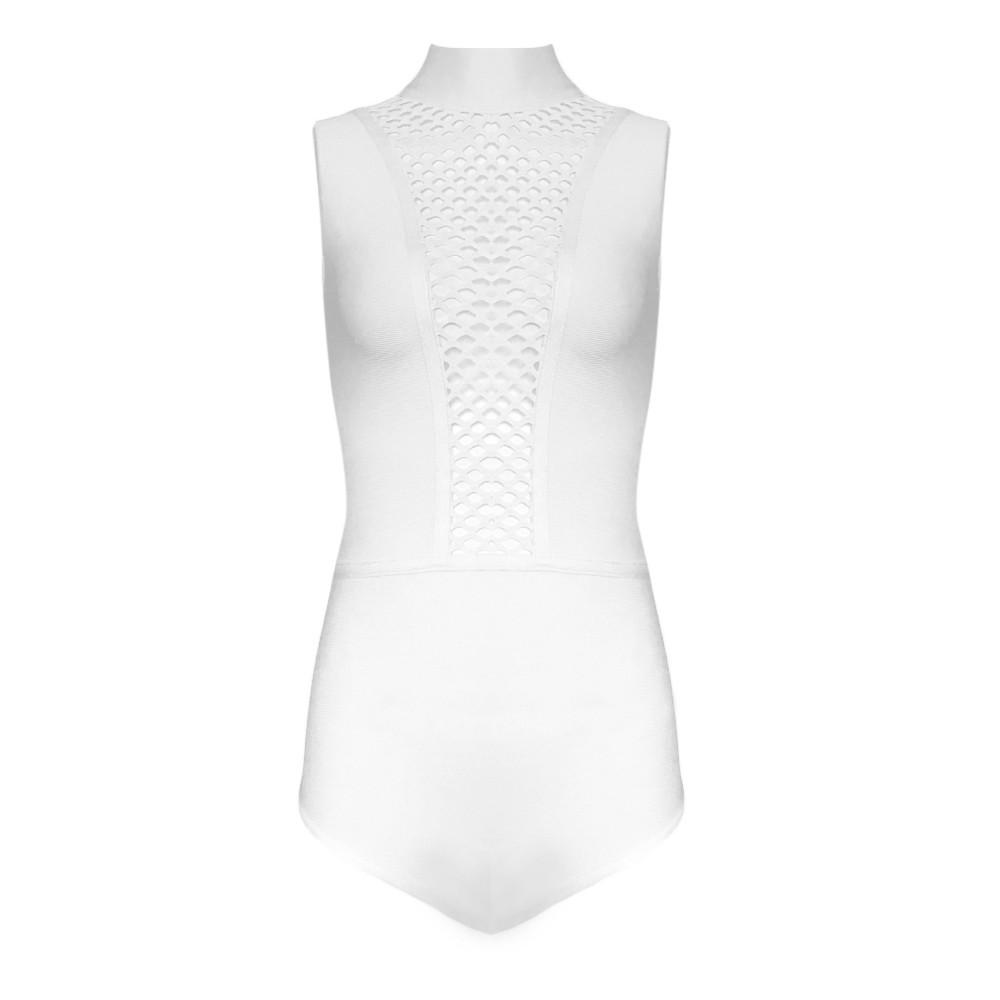 White High Neck Sleeveless Mini Mesh Sexy Bandage Bodysuit HT0089-White
