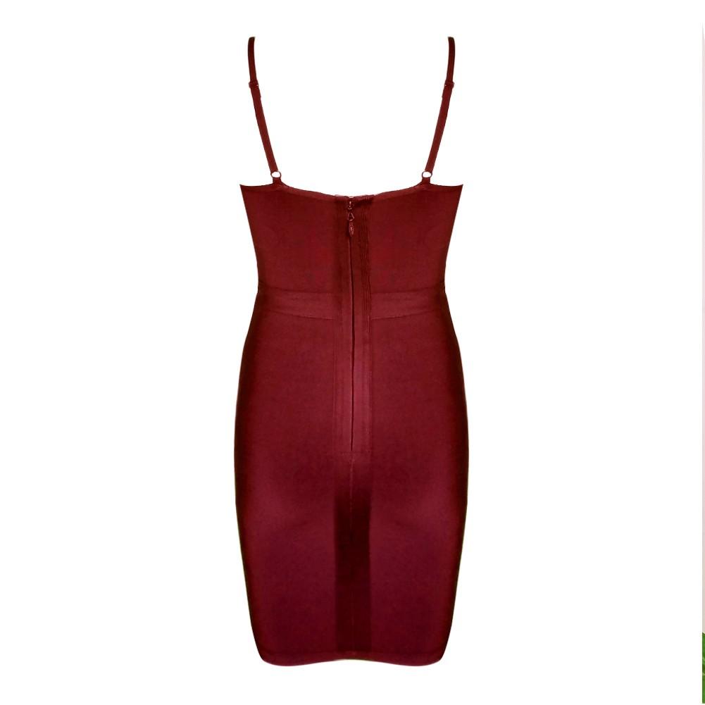Wine Halter Sleeveless One Piece Mini Front Weave Fashion Bandage Dress HT0111-Wine