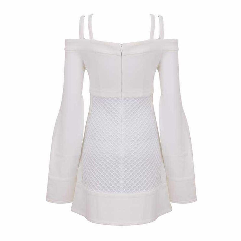 White Strapy Cap Sleeve A Line Mesh Match Fashion Bandage Dress HT0116-White