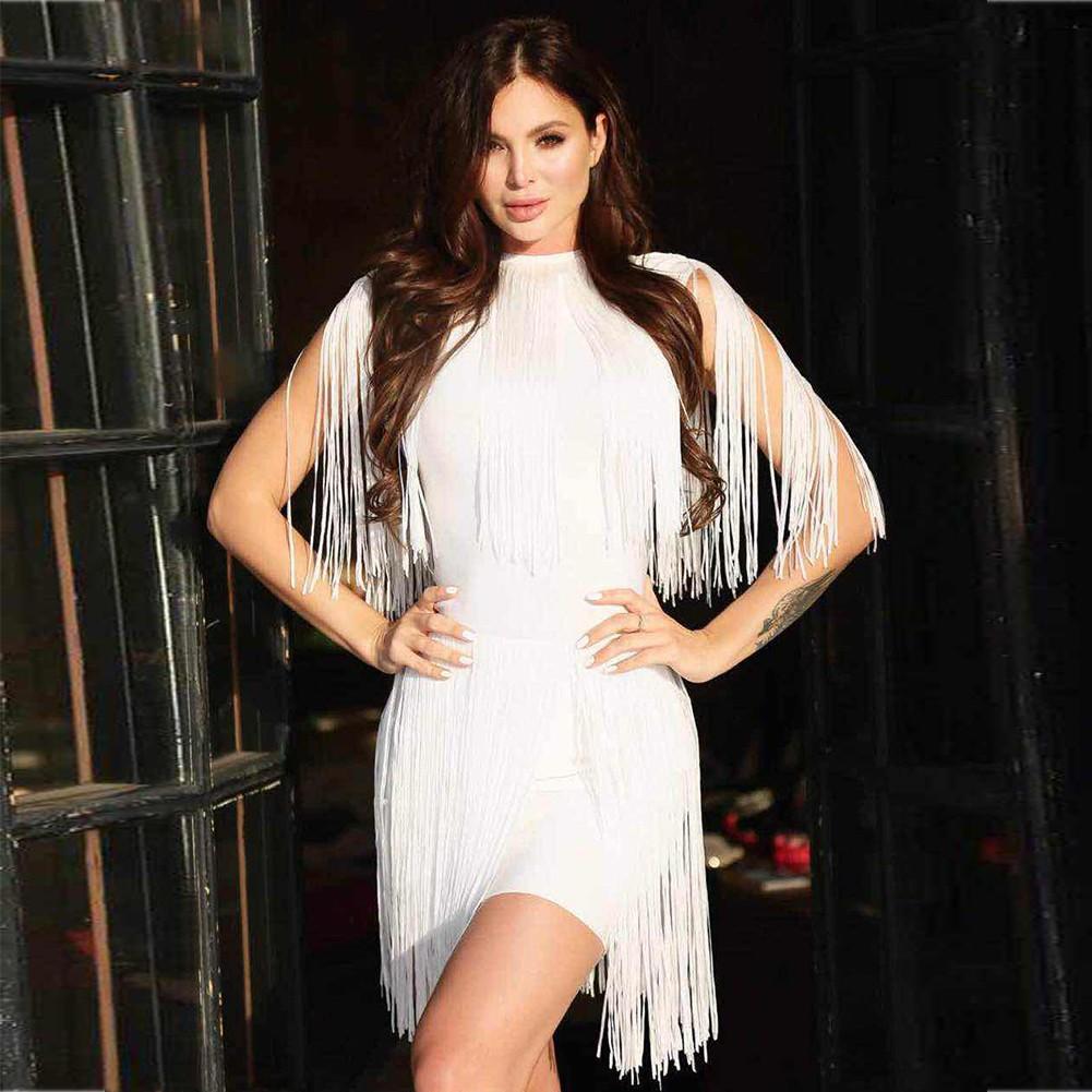 White Turtle Neck Sleeveless Mini Shoulder Tasseled Lumber Heavy Bandage Dress HT0268-White