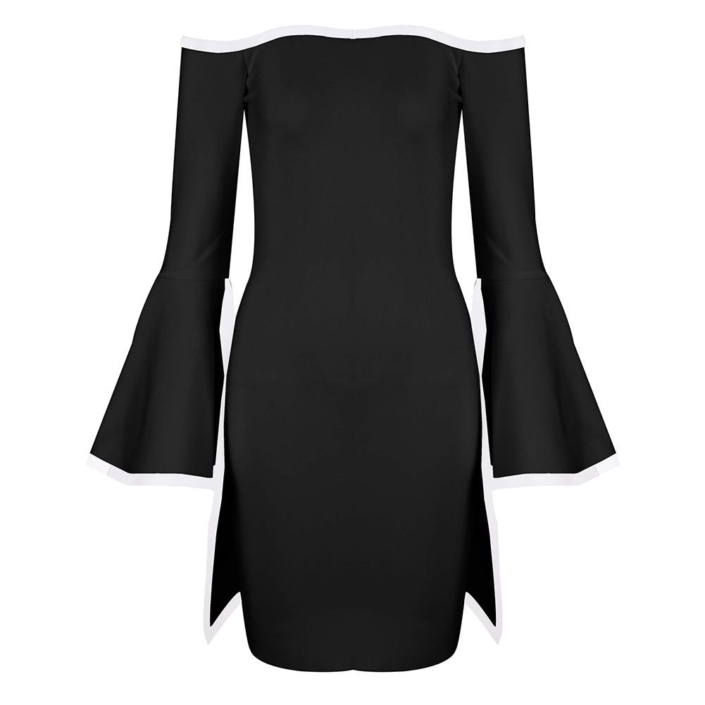 Black Off Shoulder Long Sleeve Mini Trumpet Sleeve Back Zipped High Quality Bandage Dress HT0271-Black