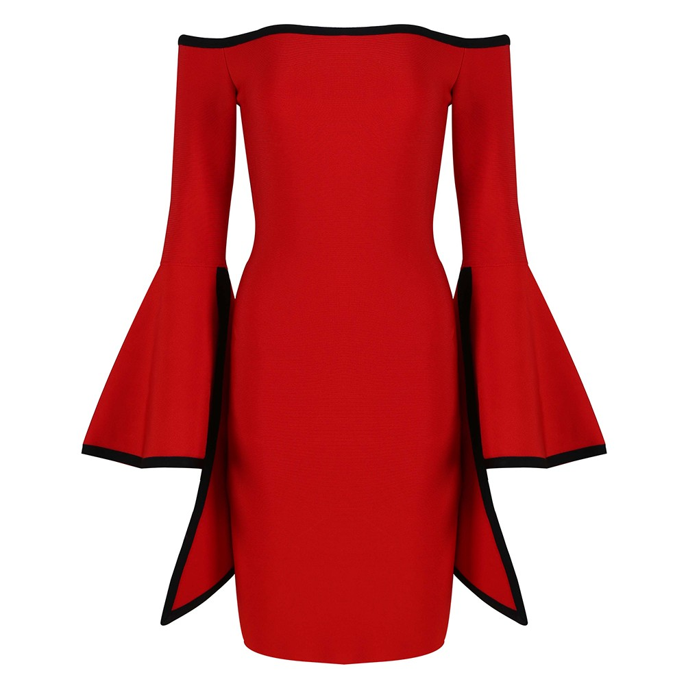 Red Off Shoulder Long Sleeve Mini Trumpet Sleeve Back Zipped High Quality Bandage Dress HT0271-Red