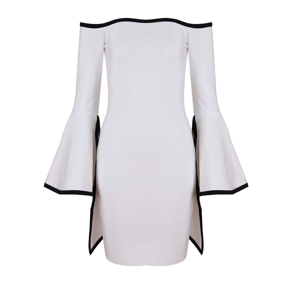 White Off Shoulder Long Sleeve Mini Trumpet Sleeve Back Zipped High Quality Bandage Dress HT0271-White