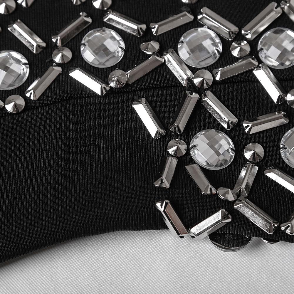 Black Strapless Sleeveless Mini Beaded Diamente Embellished Fashion Bandage Dress HT0272-Black