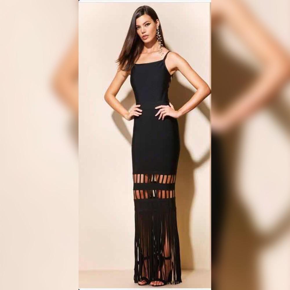Black Strapy Sleeveless Maxi Tassels Party Bandage Dress HT0275-Black