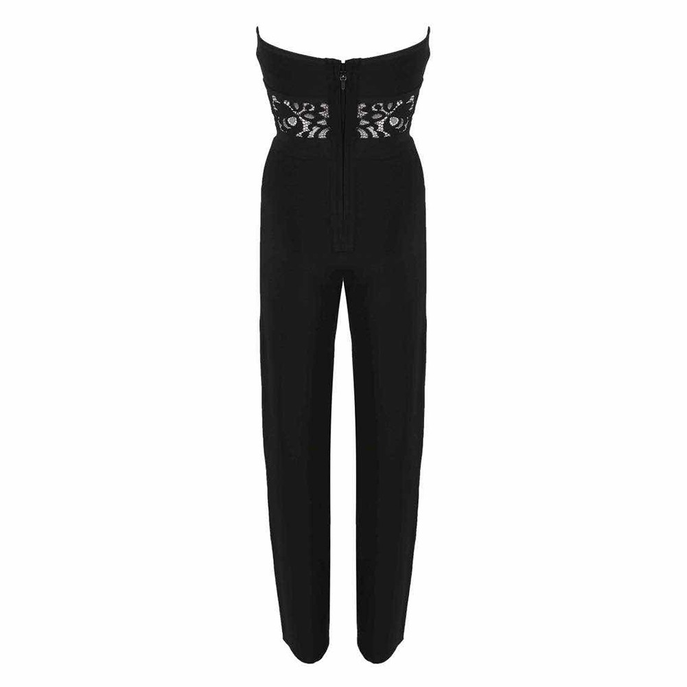 Black Strapless Sleeveless Cut Out Lace Party Bodycon Jumpsuits HT0276-Black