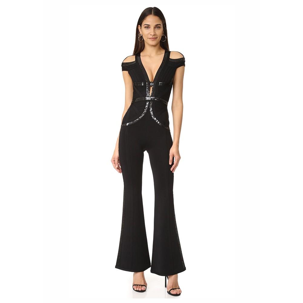 Black V Neck Short Sleeve Maxi Cut Out Sequins High Quality Bandage Jumpsuits HT0279-Black
