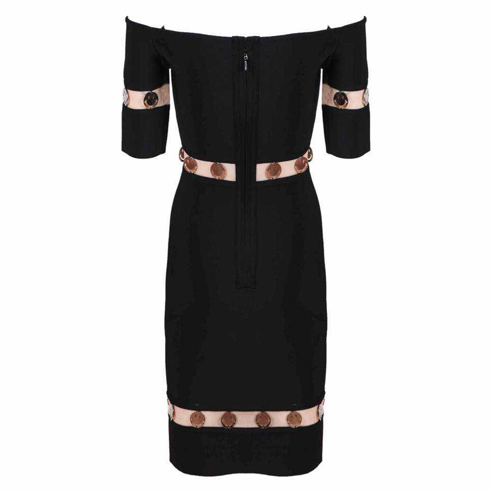 Black Off Shoulder Short Sleeve Mini Lace High Quality Bandage Dress HT0283-Black
