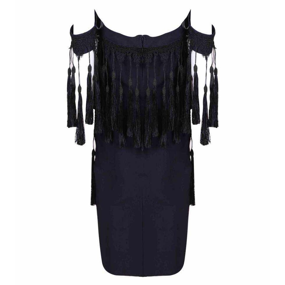 Dark Blue Off Shoulder Sleeveless Mini Tassels High Quality Bodycon Dress HT0284-Dark Blue