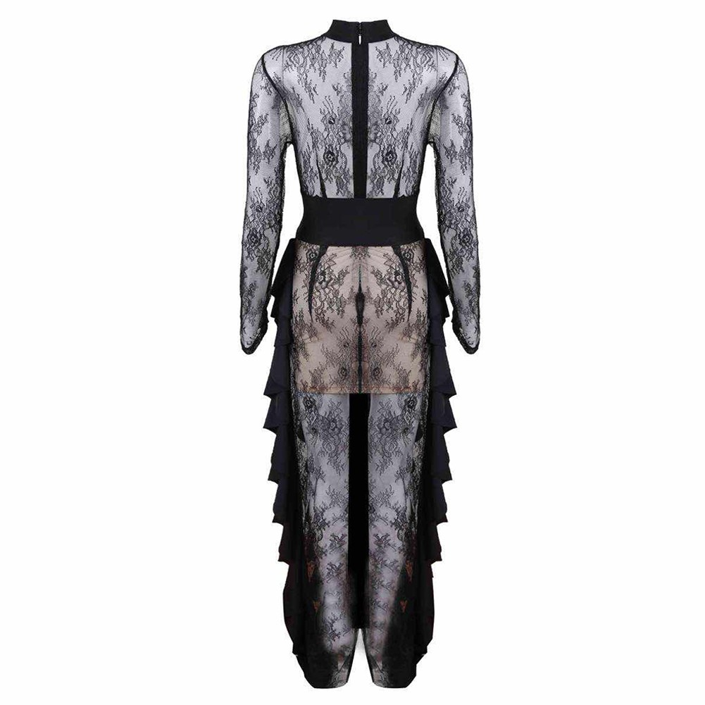 Black Round Neck Long Sleeve Maxi Lace High Quality Bodycon Jumpsuits HT0285-Black