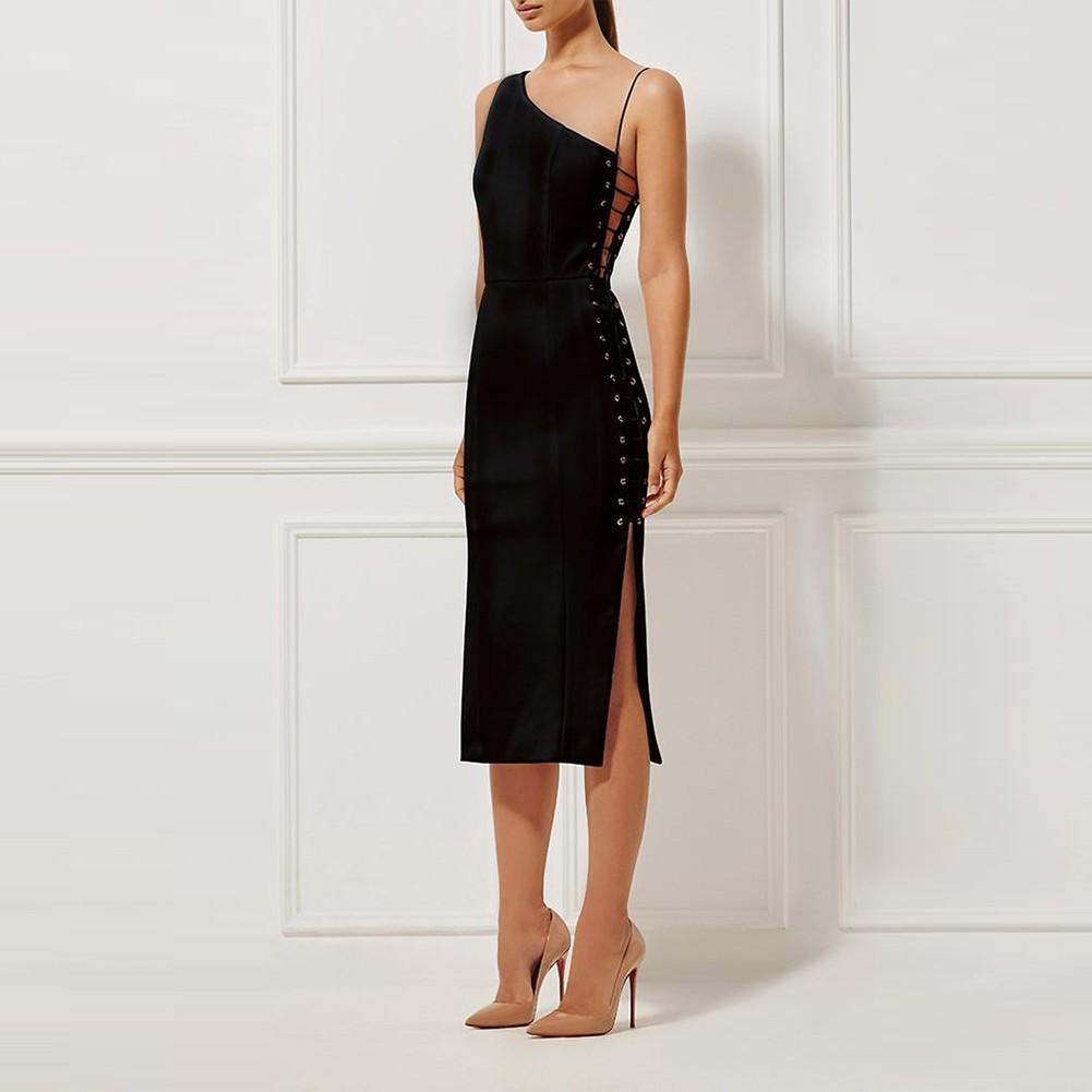Black One Shoulder Sleeveless Over Knee Lace Up High Quality Bandage Dress HT0286-Black