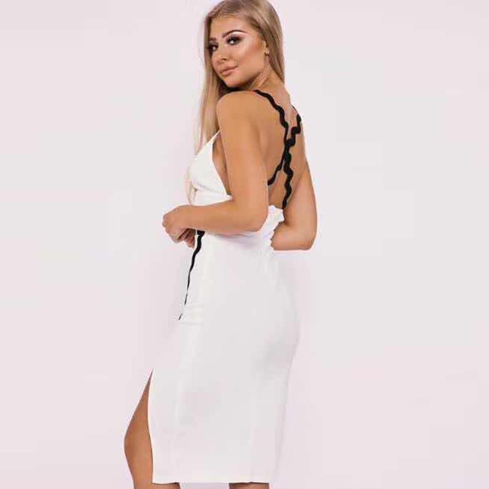 White Halter Sleeveless Mini Fashion Bandage Dress HT0287-White