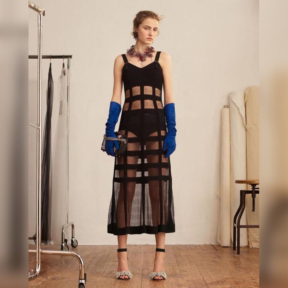 Black Strapy Sleeveless Maxi Lace Fashion Bandage Dress HT0291-Black