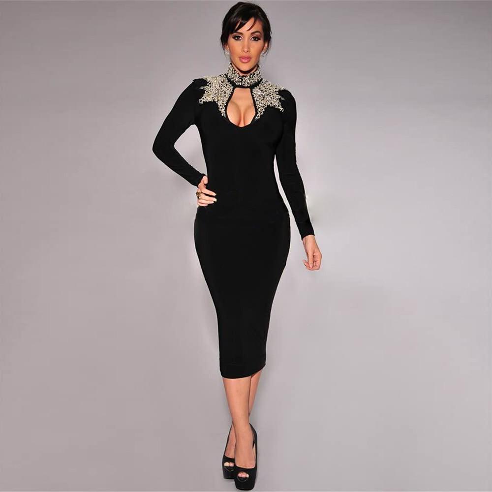 High Neck Longsleeves Over Knees Diamante Beading Bandage Dress HT1552-Black