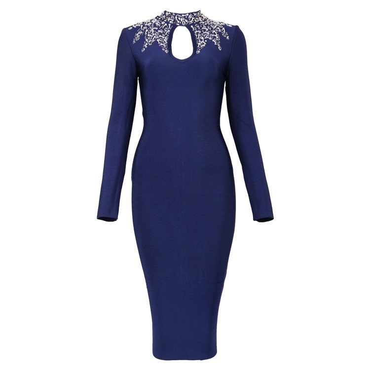 High Neck Longsleeves Over Knees Diamante Beading Bandage Dress HT1552-Blue