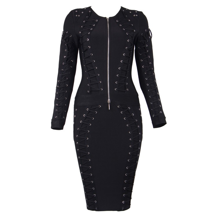 Round Neck Lace-Up Eyelet Longsleeves Bandage Dress HT1555-Black