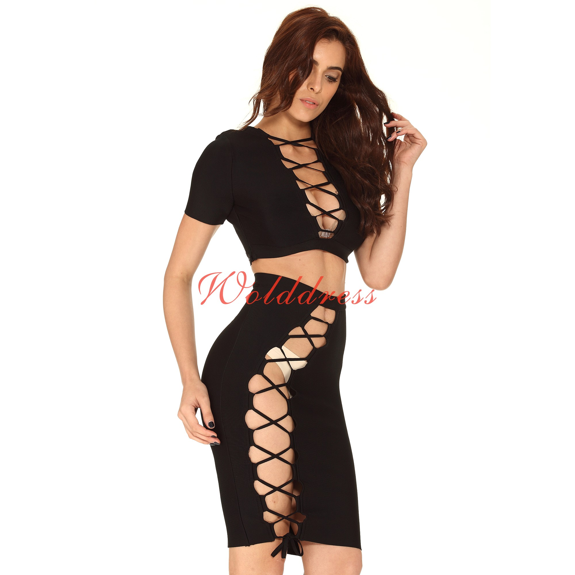 Sexy Strapless Shortsleeve Mini Black Cut Out Bandage Dress HT1626-Black