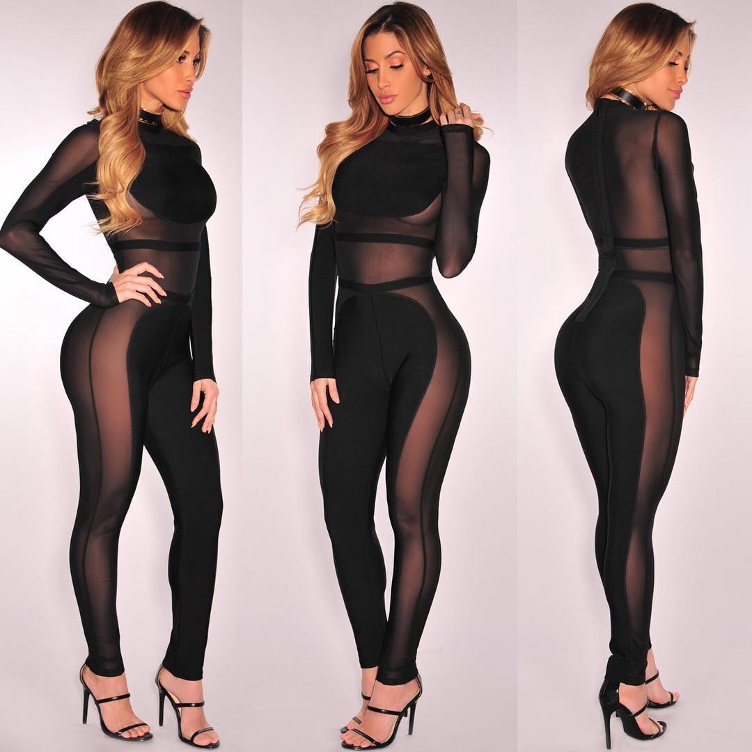 Long Sleeves Sheer Mesh See Through Club Party Bodycon Jumpsuit HT1789-Black