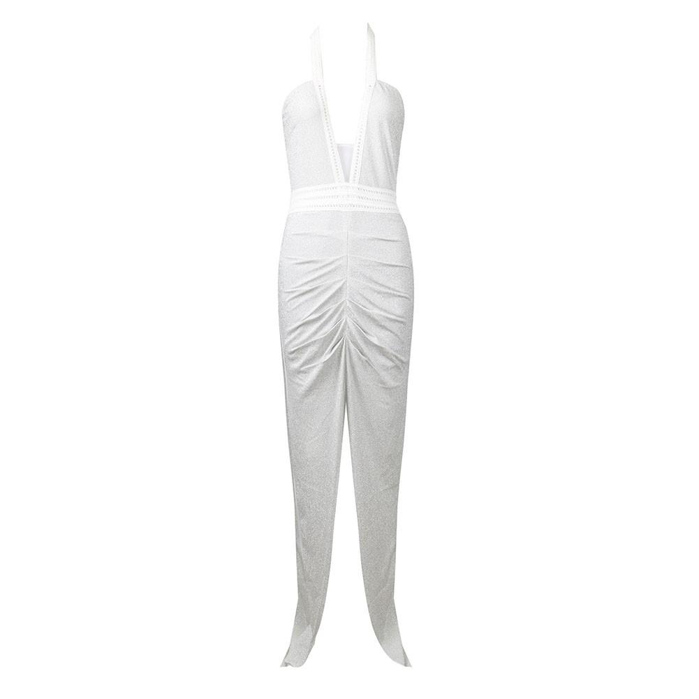 White Deep V Neck Slit Maxi Sleeveless Halter Bodycon Dress HT1802-White