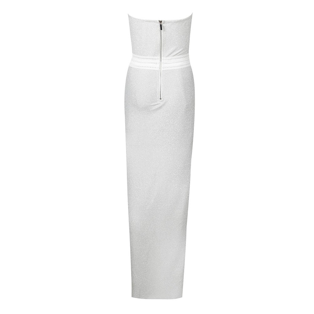 White Deep V Neck Slit Maxi Sleeveless Halter Bodycon Dress HT1802-White