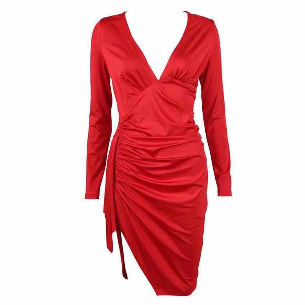 Red Asymmetrical Wrinkled Over Knee Long Sleeve V Neck Bodycon Dress HT1809-Red