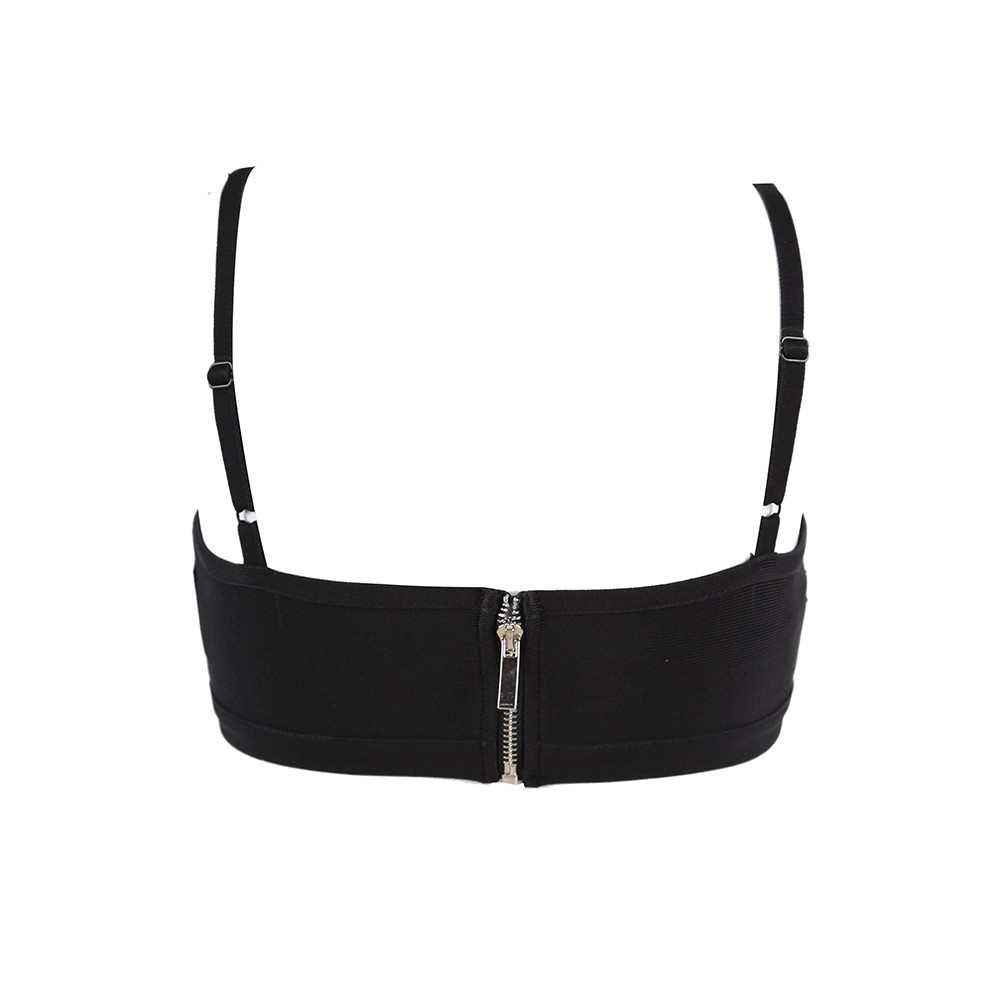 Strappy Black Sleeveless Backless Lace Bandage Top HT2351-Black