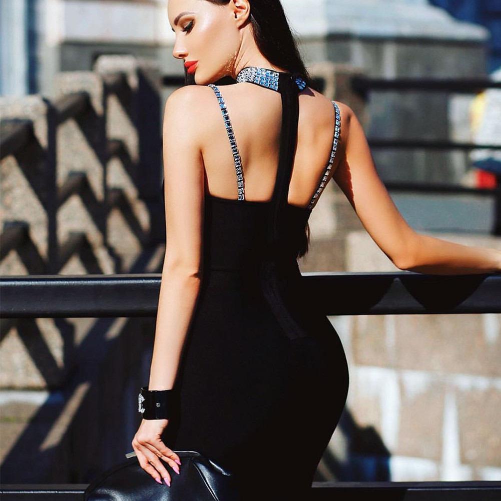 Halter Black Sleeveless Maxi Cut Out Backless Bandage Dress HT2352-Black