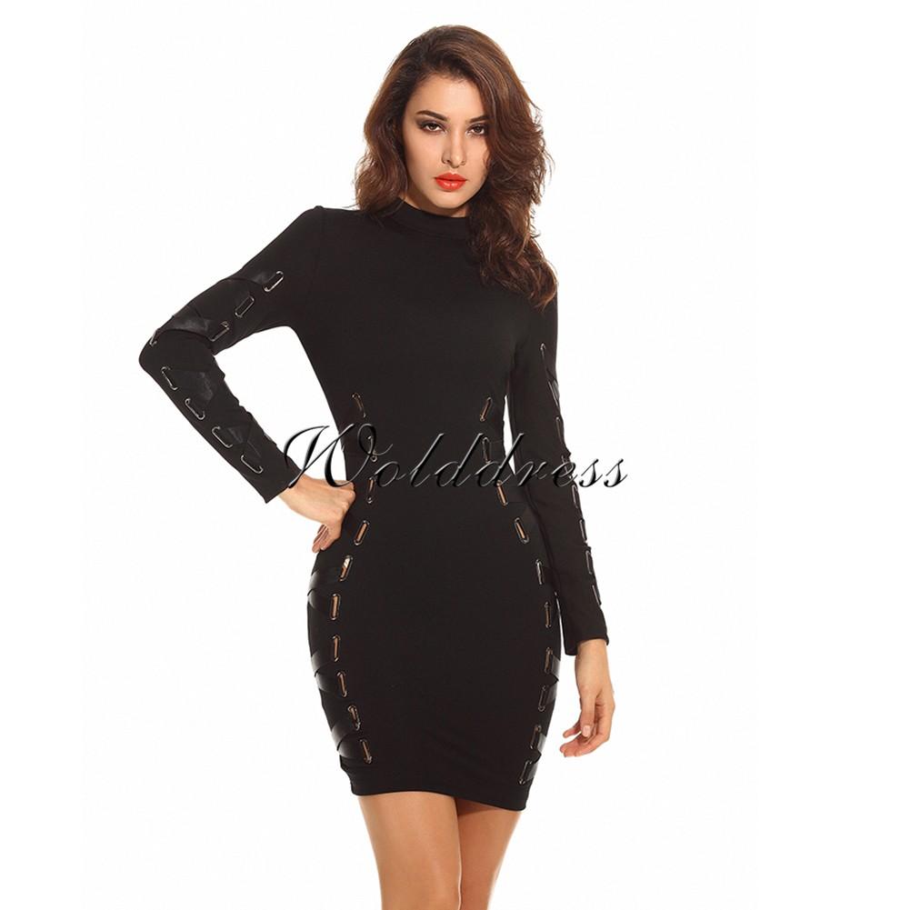 Black High Neck Long Sleeve Mini Lace Up Fashion Bandage Dress HW209-Black