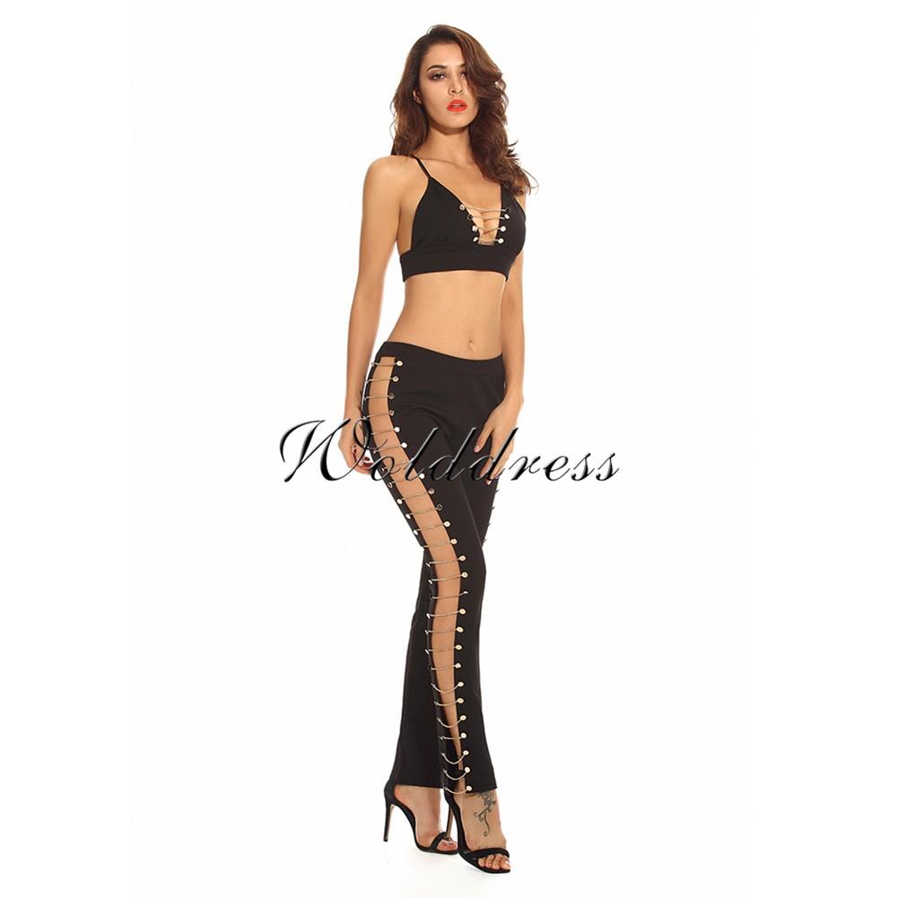 Black Strapy Sleeveless  Cut Out Fashion Bodycon 2 Piece Set HW210-Black