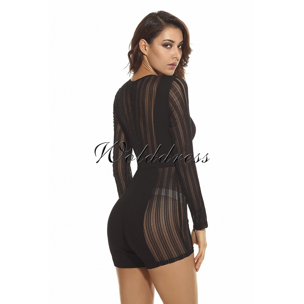 Black Round Neck Long Sleeve Mini Hollow Out Cool Bodycon Jumpsuit HW221-Black