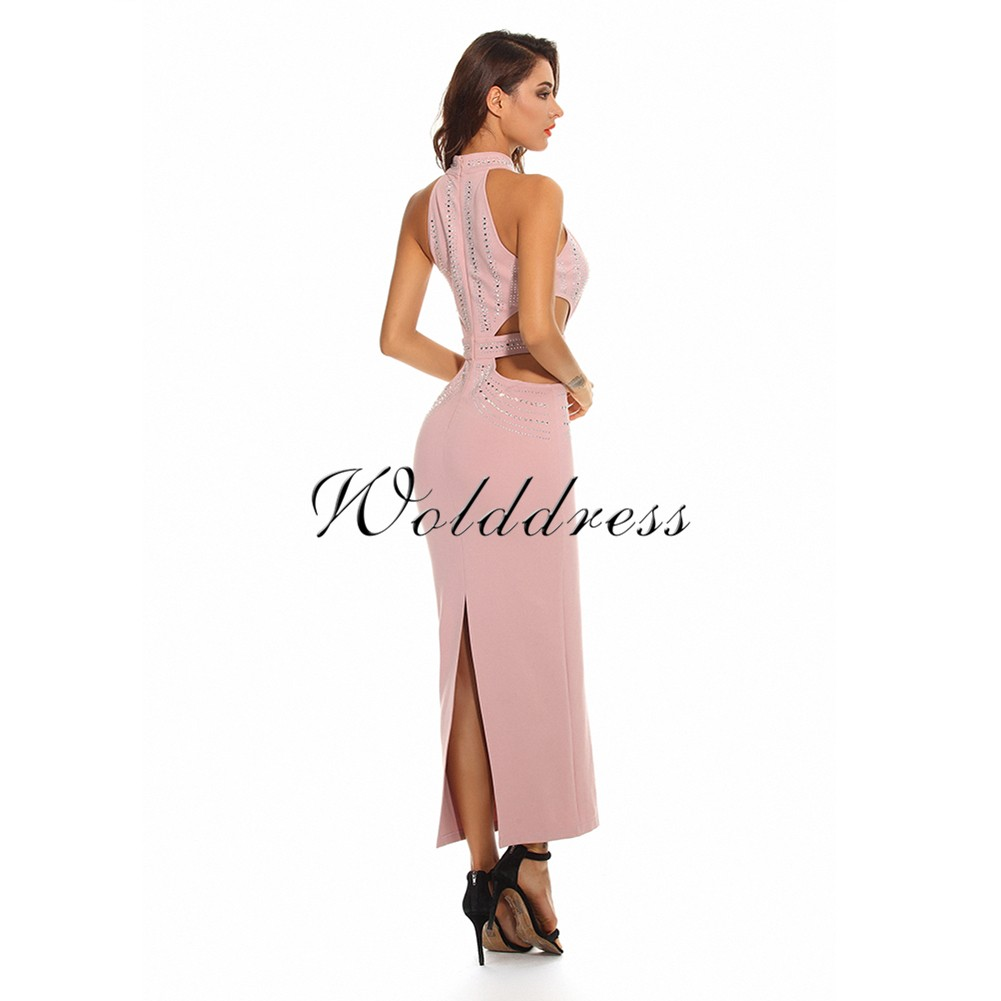 Pink High Neck Sleeveless Maxi Beaded Cut Out High Quality Bodycon Dress HW222-Pink