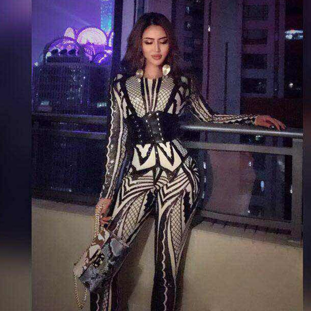 Black Round Neck Long Sleeve Maxi Sequined Flower Printing Autumn Bodycon Jumpsuit HW245-Black