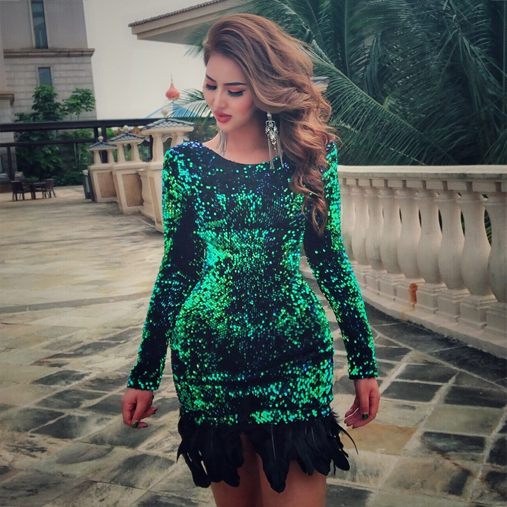 Green Round Neck Long Sleeve Mini Plume Hem Party Bodycon Dress HW255-Green