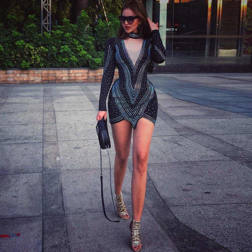 Black V Neck Long Sleeve Mini Dots Stripe Fashion Bodycon Dress HW266-Black