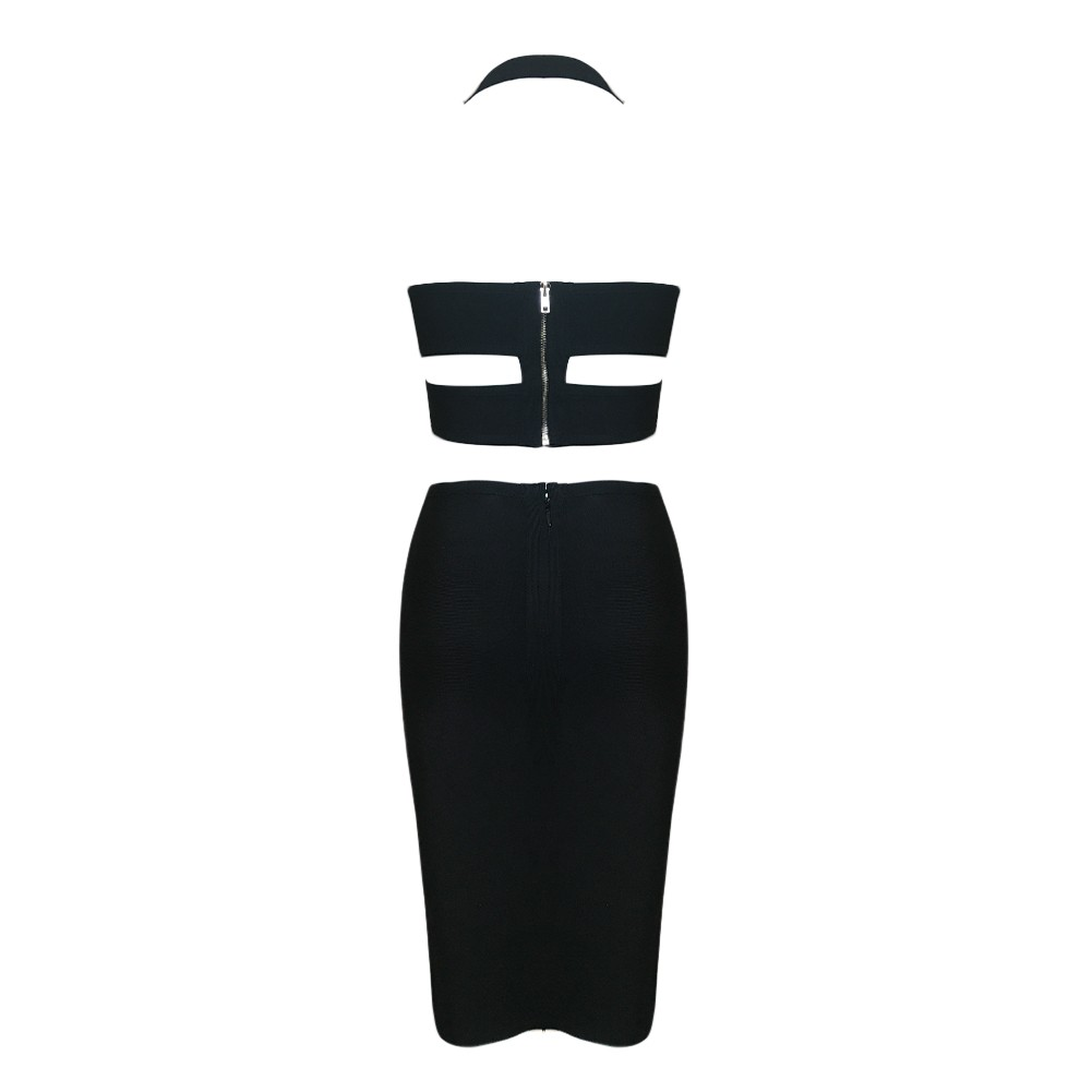 Black Strapy Sleeveless 2 Piece Embroidery Elegante Bandage Dress HX1001-Black