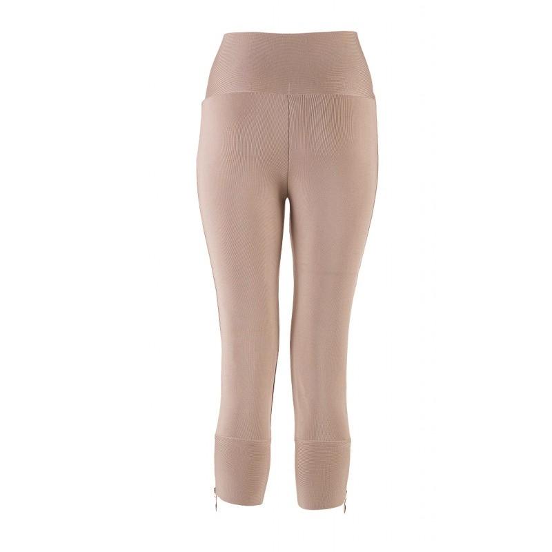 Nude Zipper Fashion Bandage Pants HZ009Z-Nude