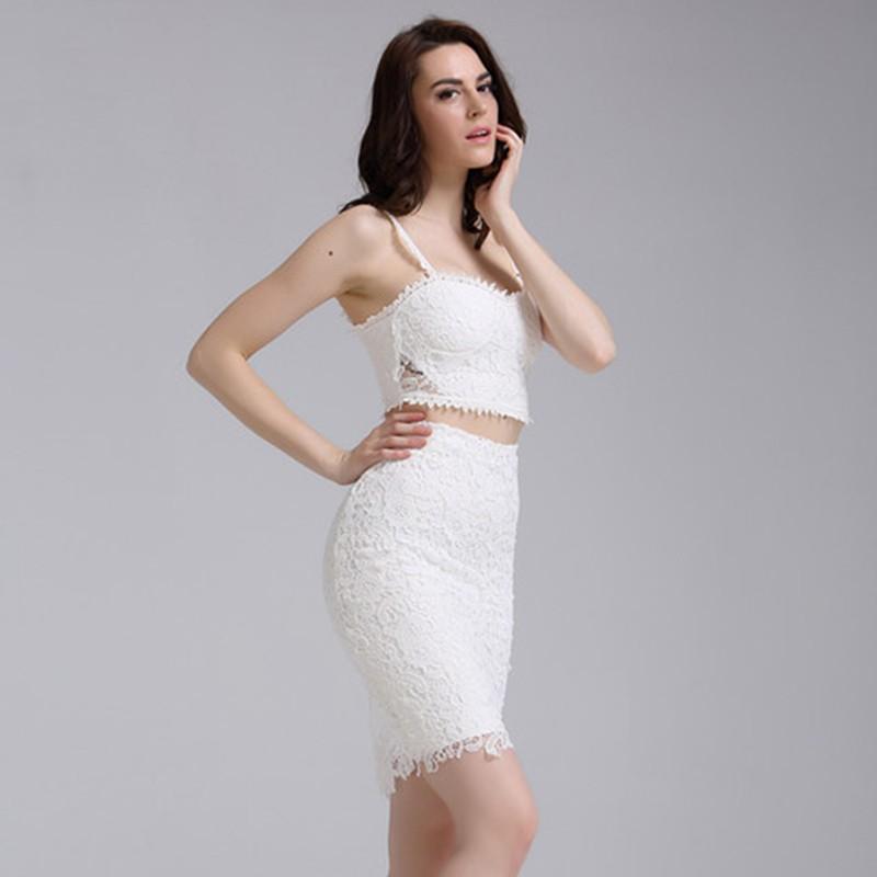 Halter Sleeveless 2 Piece Lace White Party Bandage Dress HZ298-white