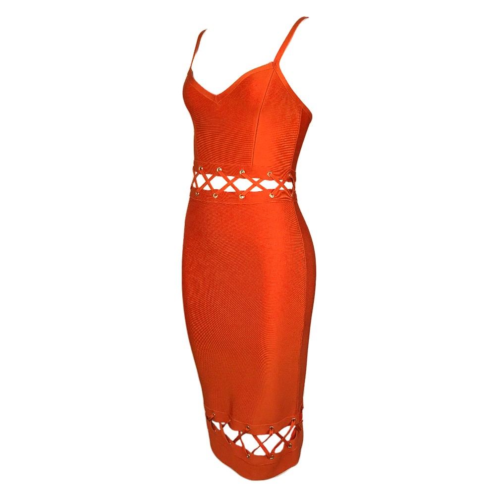 Rayon - Orange Strapy Sleeveless Over Knee Wasit Lace Up Cut Out Special Bandage Dress HJ424-Orange