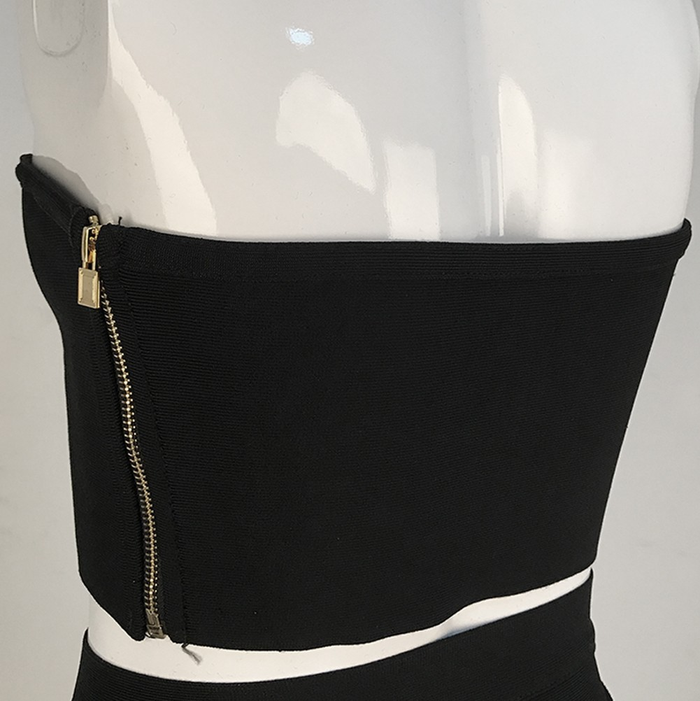 Rayon - Black Off Shoulder Sleeveless 2 Piece Lace Up Sexy Bandage Dress H0029-Black