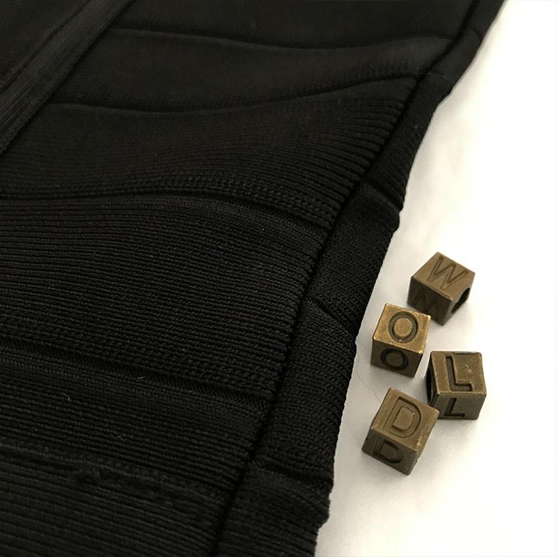 High Quality Round Neck Sleeveless Mini Black Metal Studded Bandage Dress HT0072-Black