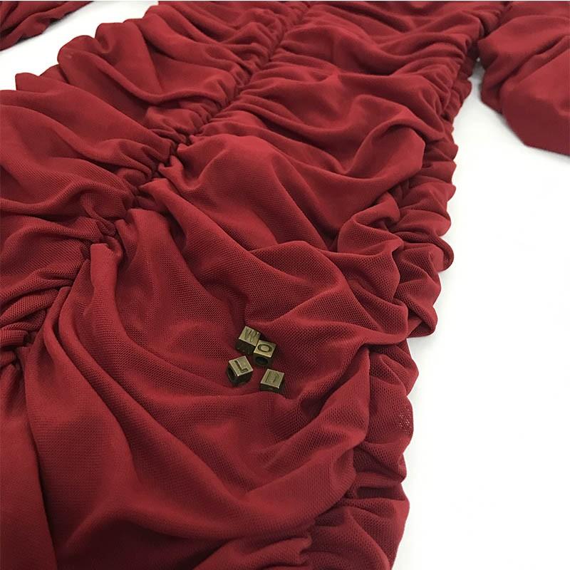 High Quality Round Neck Longsleeve Mini Wine Lace Bodycon Dress SP031-Wine