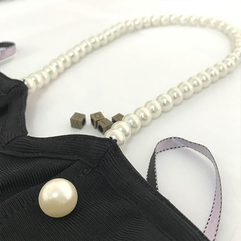 Black Halter Sleeveless Pearl Beaded Strapless Kadaishain Bandage Dress HT0079-Black