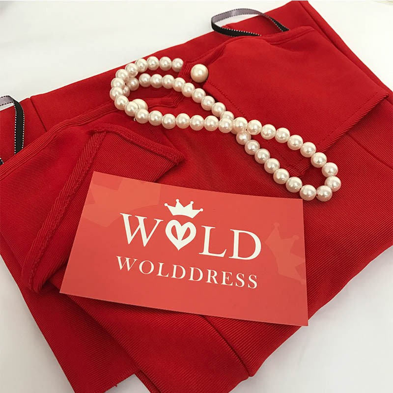 Red Halter Sleeveless Pearl Beaded Strapless Kadaishain Bandage Dress HT0079-Red