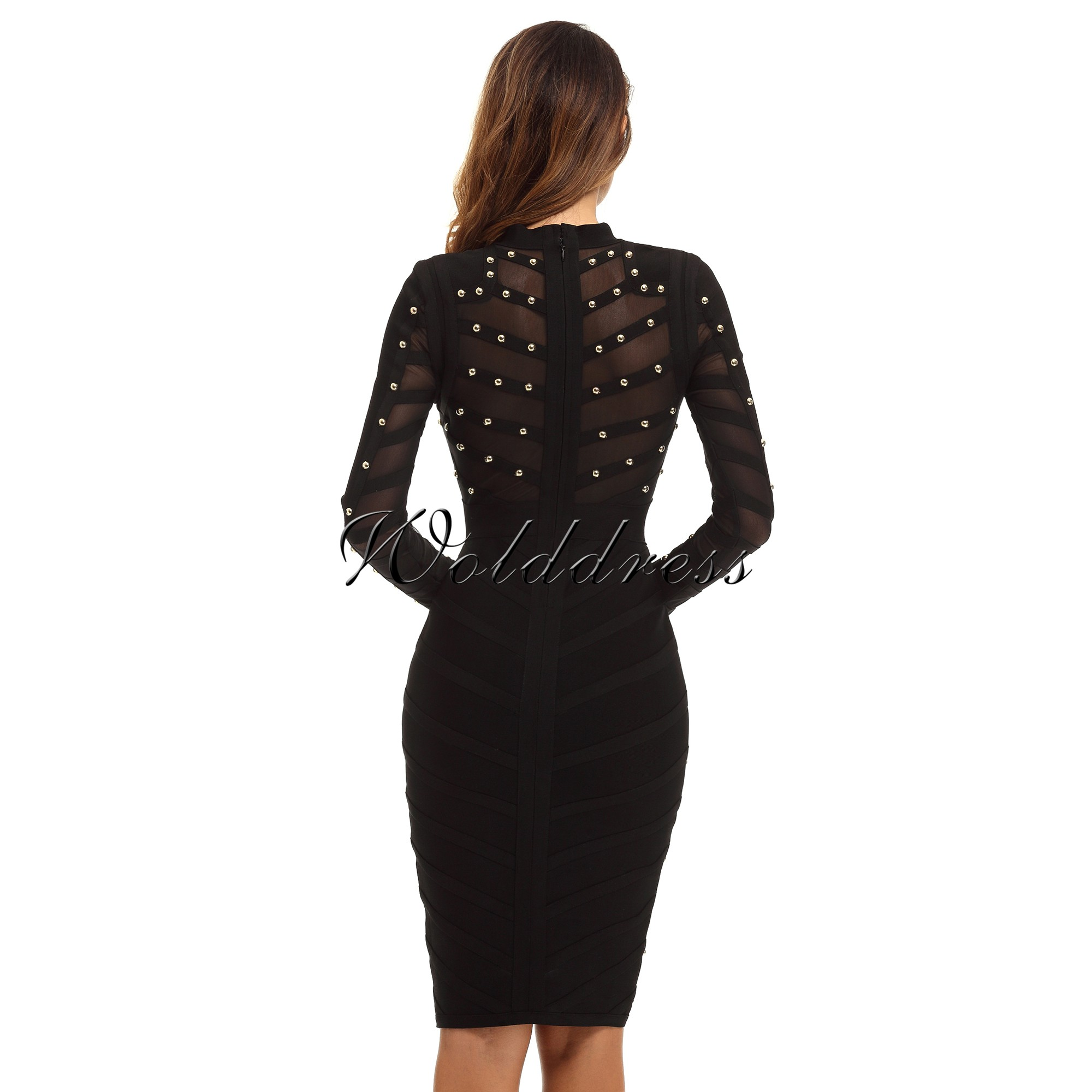 Round Neck Long Sleeve Mini Metal Studded Over Knee Length Black Perfect Bandage Dress With Sheer Mesh HN156-black