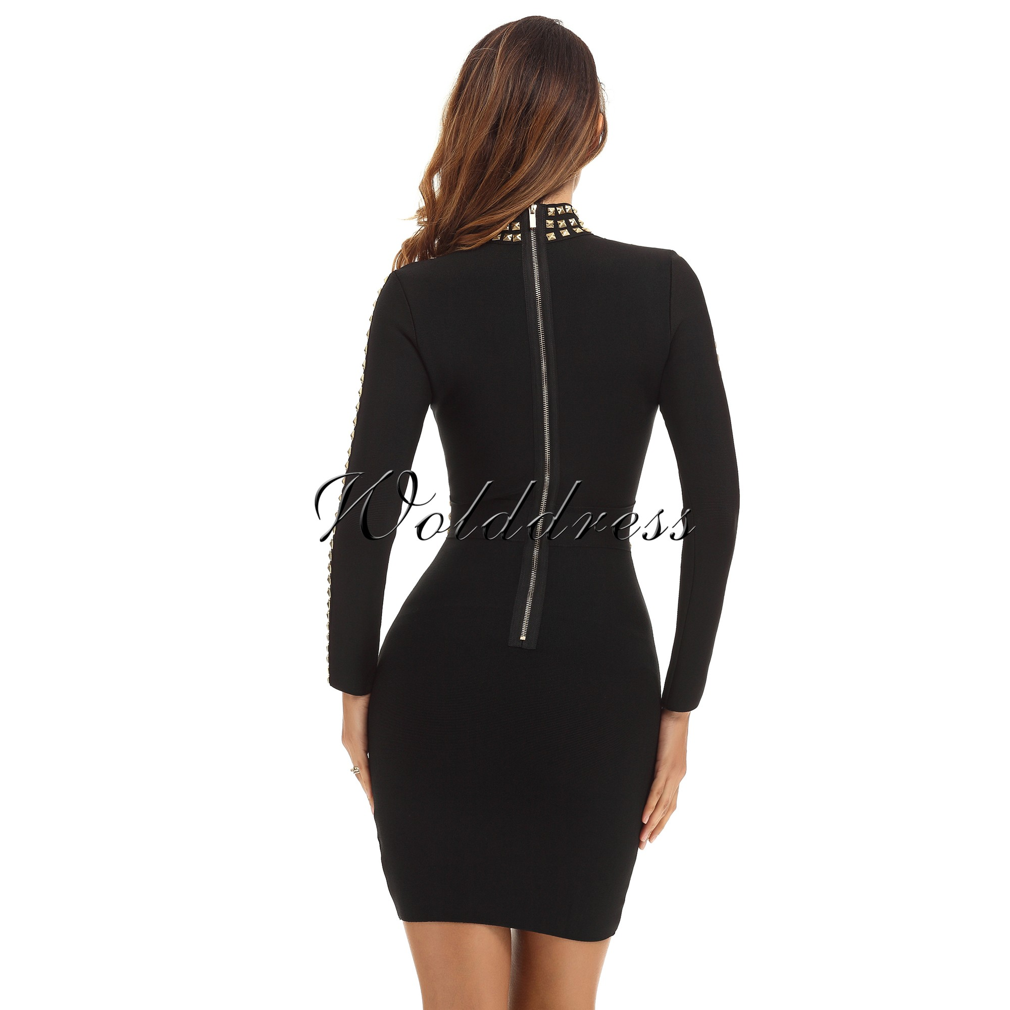 Rayon - Black Round Neck Longsleeve Mini Metal Studded Fashion Bandage Dress HJ381-Black